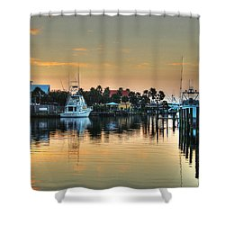 Dawn On A Orange Beach Canal Shower Curtain by Michael Thomas