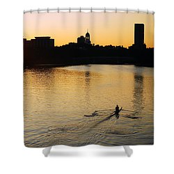 Dawn On The Charles Shower Curtain by James Kirkikis