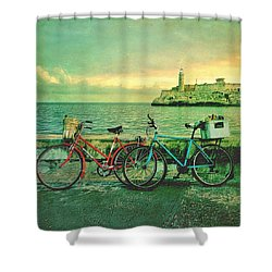 Dawn On The Havana Waterfront Shower Curtain