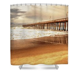 Day At The Pier Large Canvas Art, Canvas Print, Large Art, Large Wall Decor, Home Decor, Photograph Shower Curtain by David Millenheft
