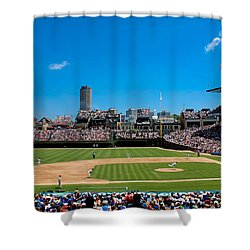 Day Game At Wrigley Field Shower Curtain by Anthony Doudt