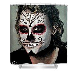 Day Of The Dead - Heath Ledger Shower Curtain by Tom Carlton