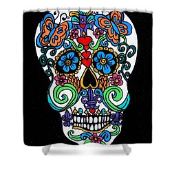 Day Of The Dead Skull Shower Curtain by Genevieve Esson
