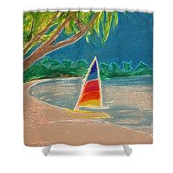 Day Sailer Shower Curtain by First Star Art