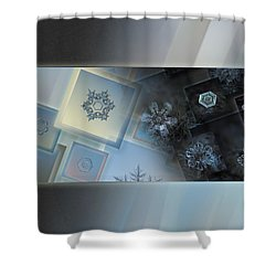 Shower Curtain featuring the photograph Snowflake Collage - Daybreak by Alexey Kljatov