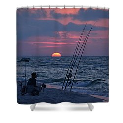 Shower Curtain featuring the photograph Daybreak On Navarre Beach With Deng The Fisherman by Jeff at JSJ Photography