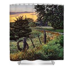 Daybreak Southwest Corner Fenceline Shower Curtain by Bruce Morrison