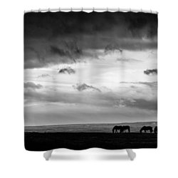 Days End At Hvammstangi Shower Curtain by Dave Bowman