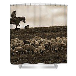 Days End Sheep Herding Shower Curtain
