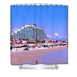 Shower Curtain featuring the photograph Daytona Main Street Pier And Beach  by Tom Jelen