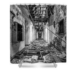 Deadly Corridor - Abandoned Asylum Building Shower Curtain by Gary Heller