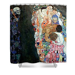 Death And Life Shower Curtain by Gustive Klimt