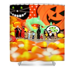 Death Takes His Kids Trick Or Treating Shower Curtain by Lon Casler Bixby
