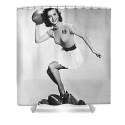 Debbie Reynolds Throws A Pass Shower Curtain by Underwood Archives