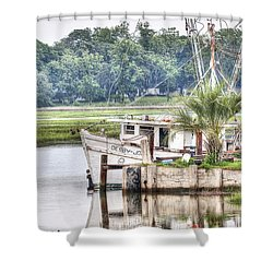 Debby John Shrimp Boat Shower Curtain