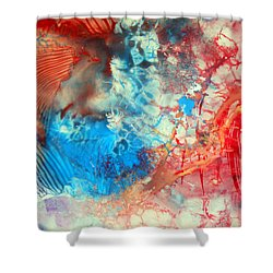 Shower Curtain featuring the painting Decalcomaniac Colorfield Abstraction Without Number by Otto Rapp