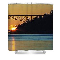 Deception Pass Bridge Sunset Shower Curtain