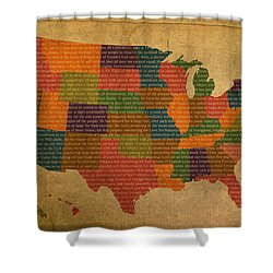 Declaration Of Independence Word Map Of The United States Of America Shower Curtain by Design Turnpike