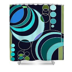 Deco Circles In Blue Shower Curtain