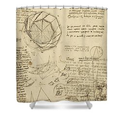 Decomposition Of Circle Into Bisangles From Atlantic Codex  Shower Curtain by Leonardo Da Vinci