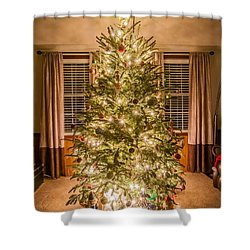 Shower Curtain featuring the photograph Decorated Christmas Tree by Alex Grichenko