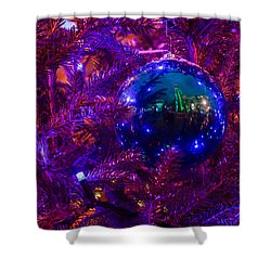 Decoration Ball On A Christmas Tree Illuminated With Red Light - Featured 3 Shower Curtain by Alexander Senin
