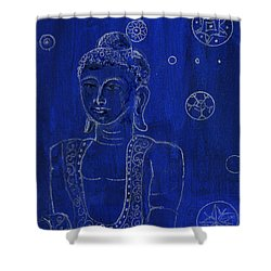 Deep Blue Buddha Shower Curtain