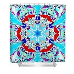 Deep Blue Geometry Shower Curtain