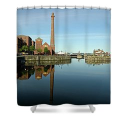 Deep Blue Reflections Shower Curtain by Jonah  Anderson