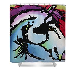 Shower Curtain featuring the painting Deep Red Bells by Nicole Gaitan