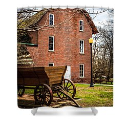 Deep River Wood's Grist Mill And Wagon Shower Curtain by Paul Velgos