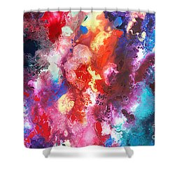 Deep Water Coral Shower Curtain by Sally Trace