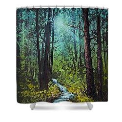 Deep Woods Stream Shower Curtain by C Steele