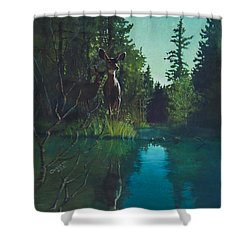 Deer Crossing Shower Curtain by Rob Corsetti