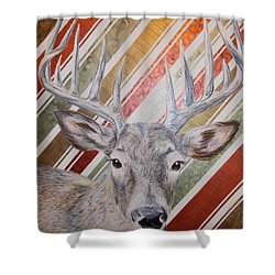Shower Curtain featuring the painting Deer Deco by PainterArtist FINs husband