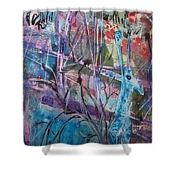 Deer In Magical Forest Shower Curtain