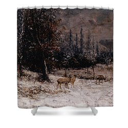 Deer In The Snow Shower Curtain by Gustave  Courbet