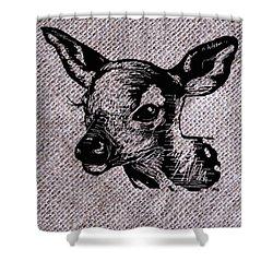 Deer On Burlap Shower Curtain