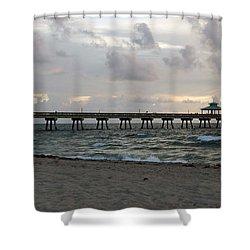 Shower Curtain featuring the photograph Deerfield Beach International Fishing Pier Sunrise by Rafael Salazar