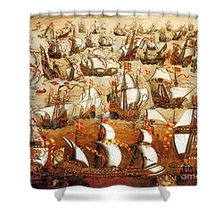 Defeat Of The Spanish Armada 1588 Shower Curtain by Photo Researchers