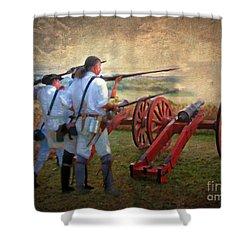 Defending Bemis Heights 1777 Shower Curtain by Lianne Schneider