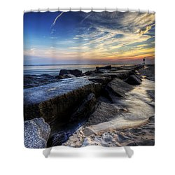 Delaware Sunrise At Indian River Inlet Shower Curtain