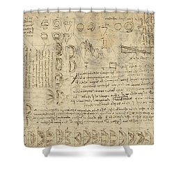 Delian Problem Or Doubling Cube Equivalence Among Various Parts Of Circle From Atlantic Codex  Shower Curtain by Leonardo Da Vinci