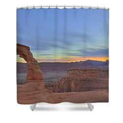 Shower Curtain featuring the photograph Delicate Arch At Sunset by Alan Vance Ley