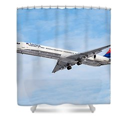 Delta Air Lines Mcdonnell Douglas Md-88 Airplane Landing Shower Curtain by Paul Velgos