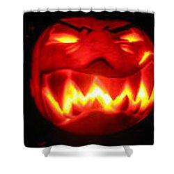 Demented Mister Ullman Pumpkin Shower Curtain by Shawn Dall