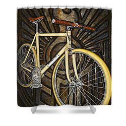 Demon Path Racer Bicycle Shower Curtain by Mark Jones