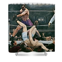 Dempsey V Firpo In New York City Shower Curtain by George Wesley Bellows