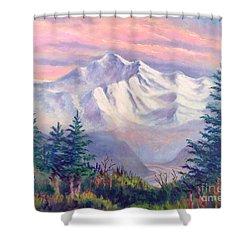 Denali Alpenglow Shower Curtain by Teresa Ascone