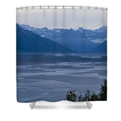 Denali Side Mountain Ranges Shower Curtain by Tara Lynn